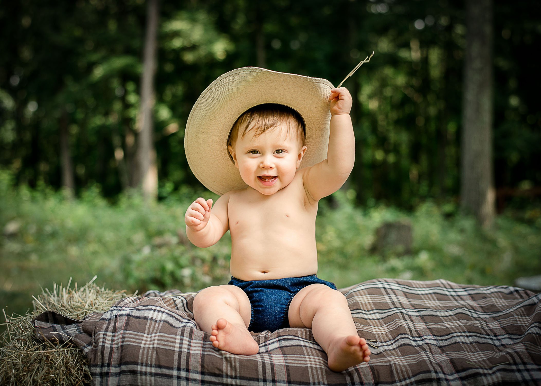 9 mo old baby boy with cowboy hat on sitting outside One Big Happy Photo 6b3701da5e5