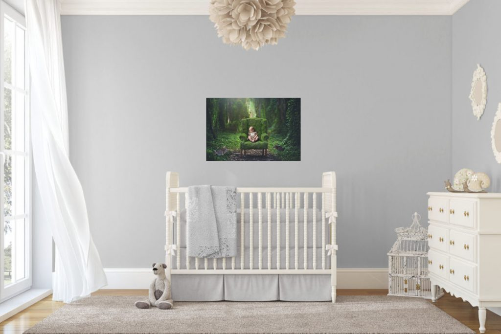 Nursery Wall Art Of Baby In Fairy Tale Forest